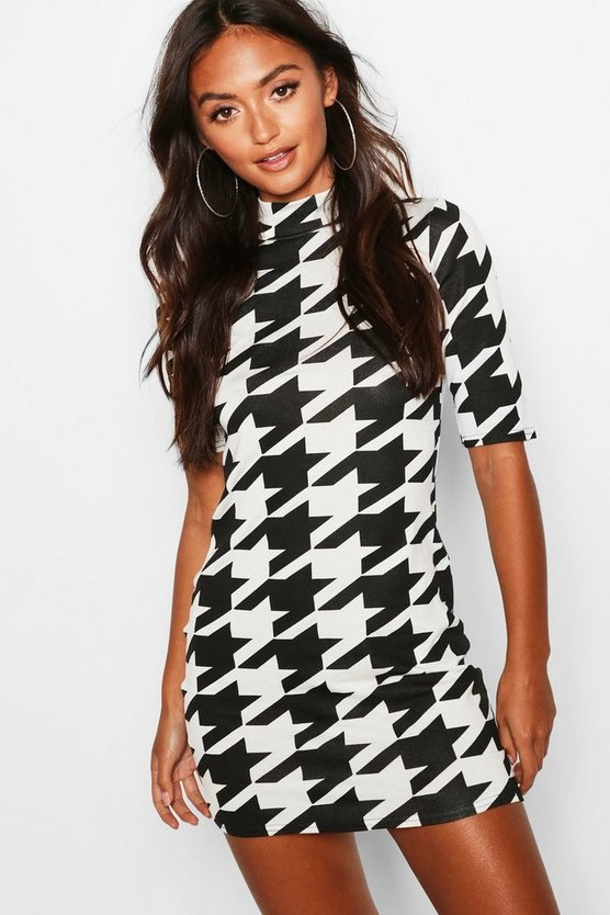 Petite Dogtooth Midi Bodycon Dress