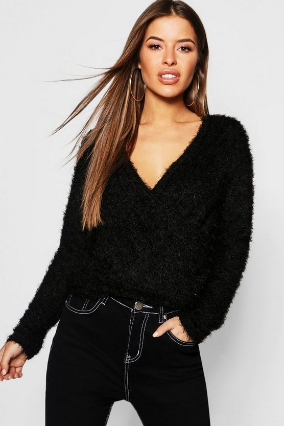 Womens Black Petite Knit Cross Front Cropped Jumper