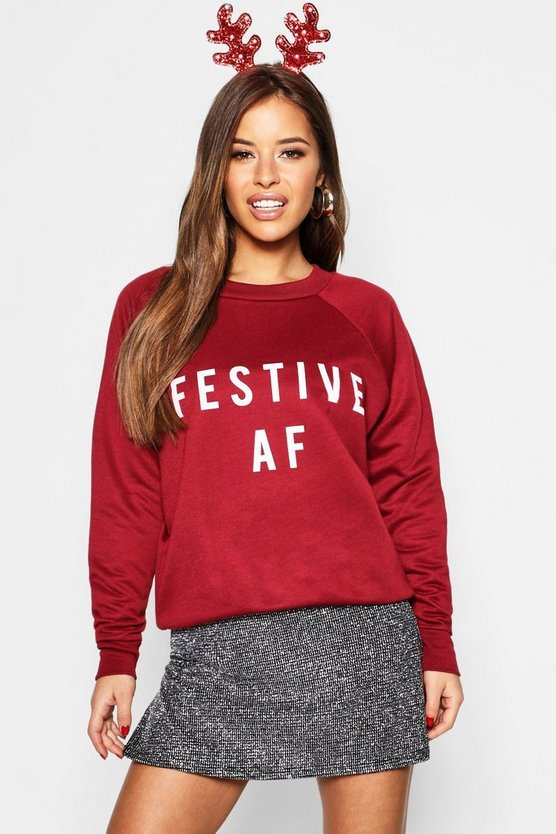 Top sweat à slogan 'AF festif' Petite, Fruits rouges, Femme