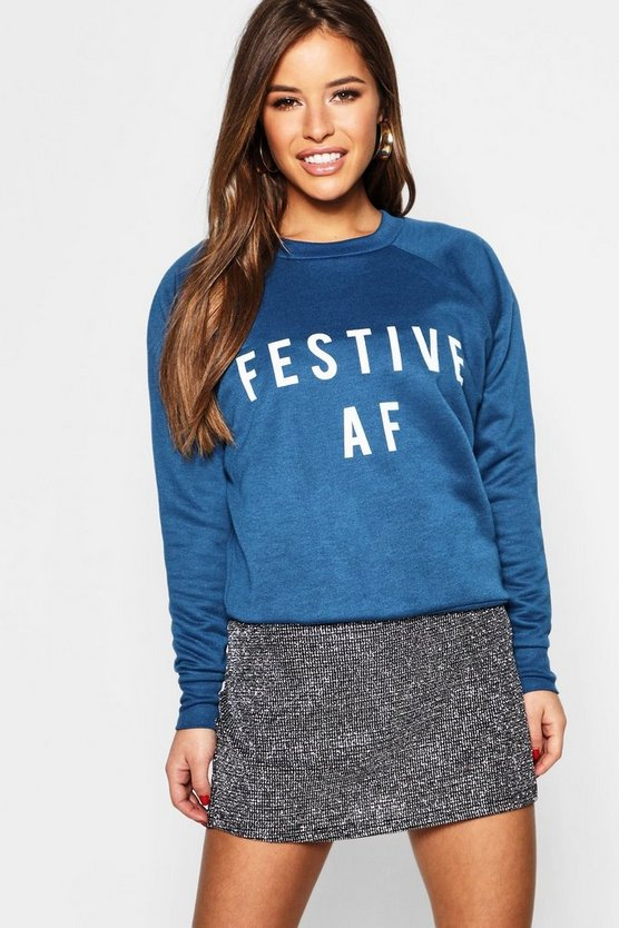 Petite 'Festive AF' Slogan Sweat Top