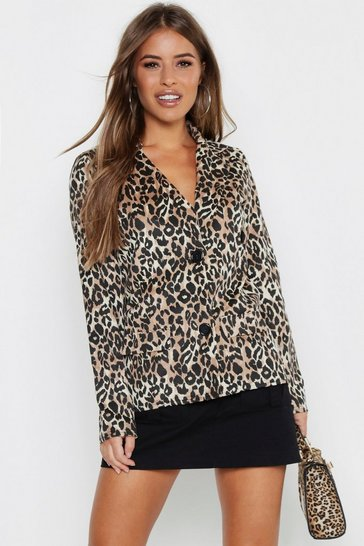 Womens Tan Petite Leopard Print Suedette Button Up Blazer