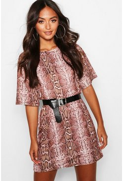 Womens Rose Petite Snake Print Oversized T-Shirt Dress