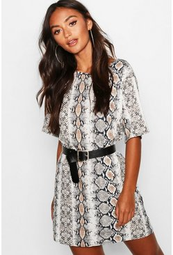 Womens Stone Petite Snake Print Oversized T-Shirt Dress