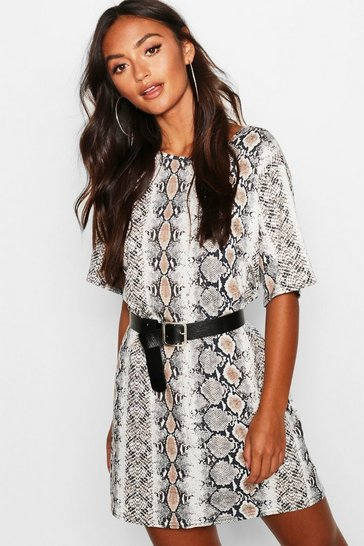 Stone Petite Snake Print Oversized T-Shirt Dress