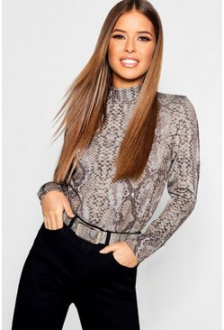 Dam Grey Petite Snake Print Turtleneck