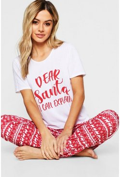 Red Petite 'Dear Santa' Slogan Tops & Trousers Pj Set