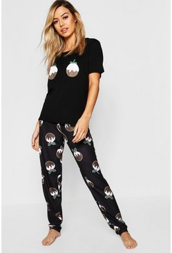 Black Petite Christmas Pudding Pj Top & Trouser Set