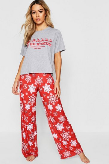 Womens Red Petite Ho Ho Homies Christmas Lounger Set