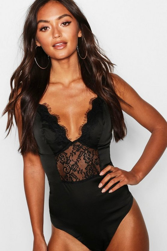 Womens Black Petite Satin Cup Eyelash Premium Lace Bodysuit
