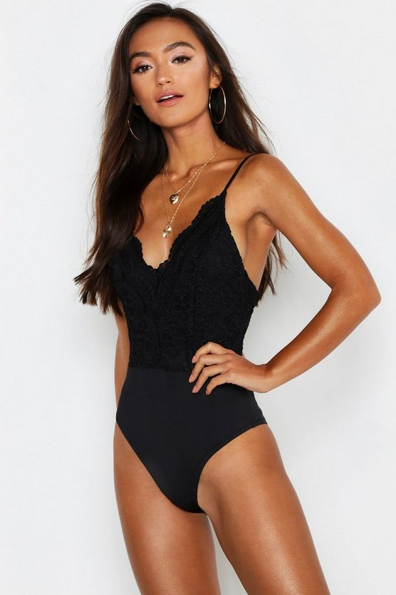 Womens Black Petite Scallop Edge Strappy Lace Bodysuit