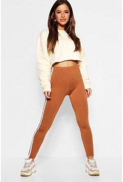 Womens Camel Petite Double Side Strip Legging