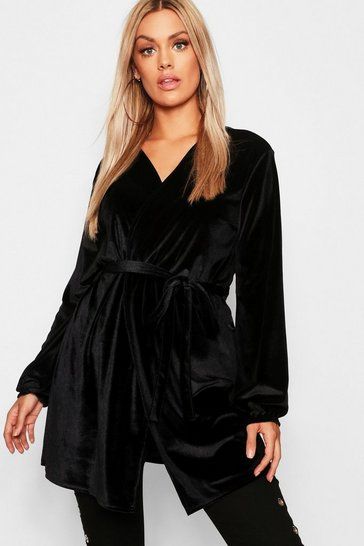 Womens Black Plus Velvet Balloon Sleeve Tie Wrap Top