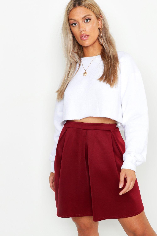 Plus Scuba Box Pleat Mini Skater Skirt