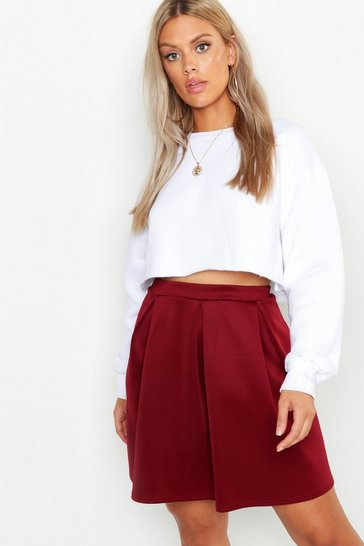 Womens Berry Plus Scuba Box Pleat Mini Skater Skirt