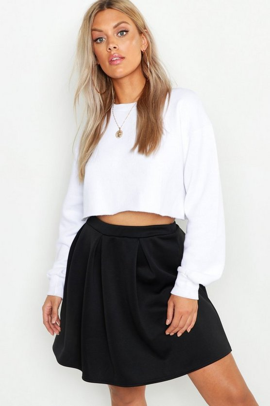 Womens Black Plus Scuba Box Pleat Mini Skater Skirt