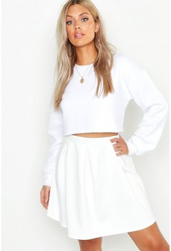 Ivory Plus Scuba Box Pleat Mini Skater Skirt