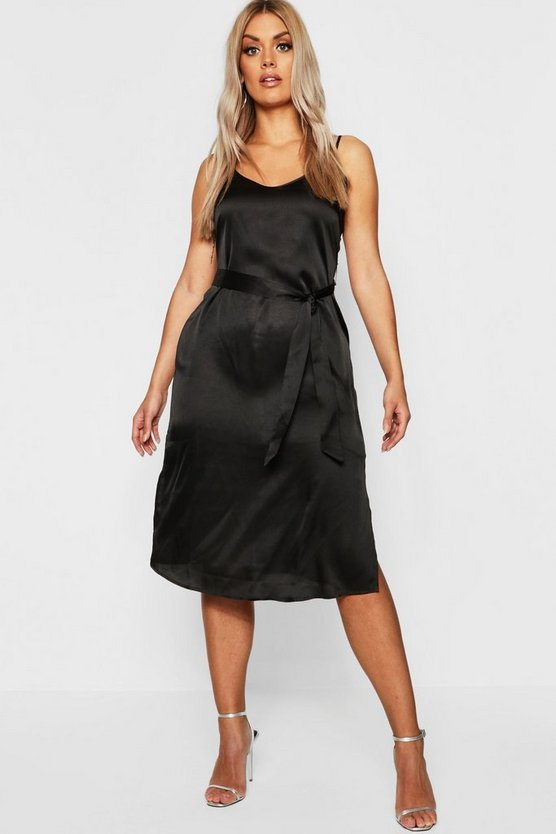 Womens Black Plus Satin Belted Midi Dress