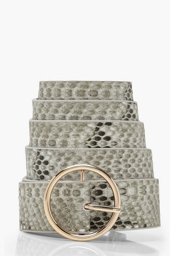 Plus Faux Snake Print Circle Belt