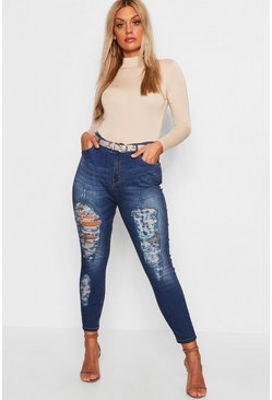 Plus Stretch Skinny Jeans in Used-Optik mit 5 Taschen, Mittelblau, Damen