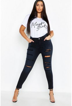 Womens Ink Plus Slashed Ripped Skinny Jean