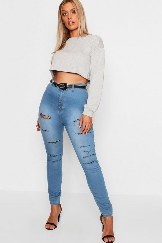 Light blue Plus Slash Rip Jegging