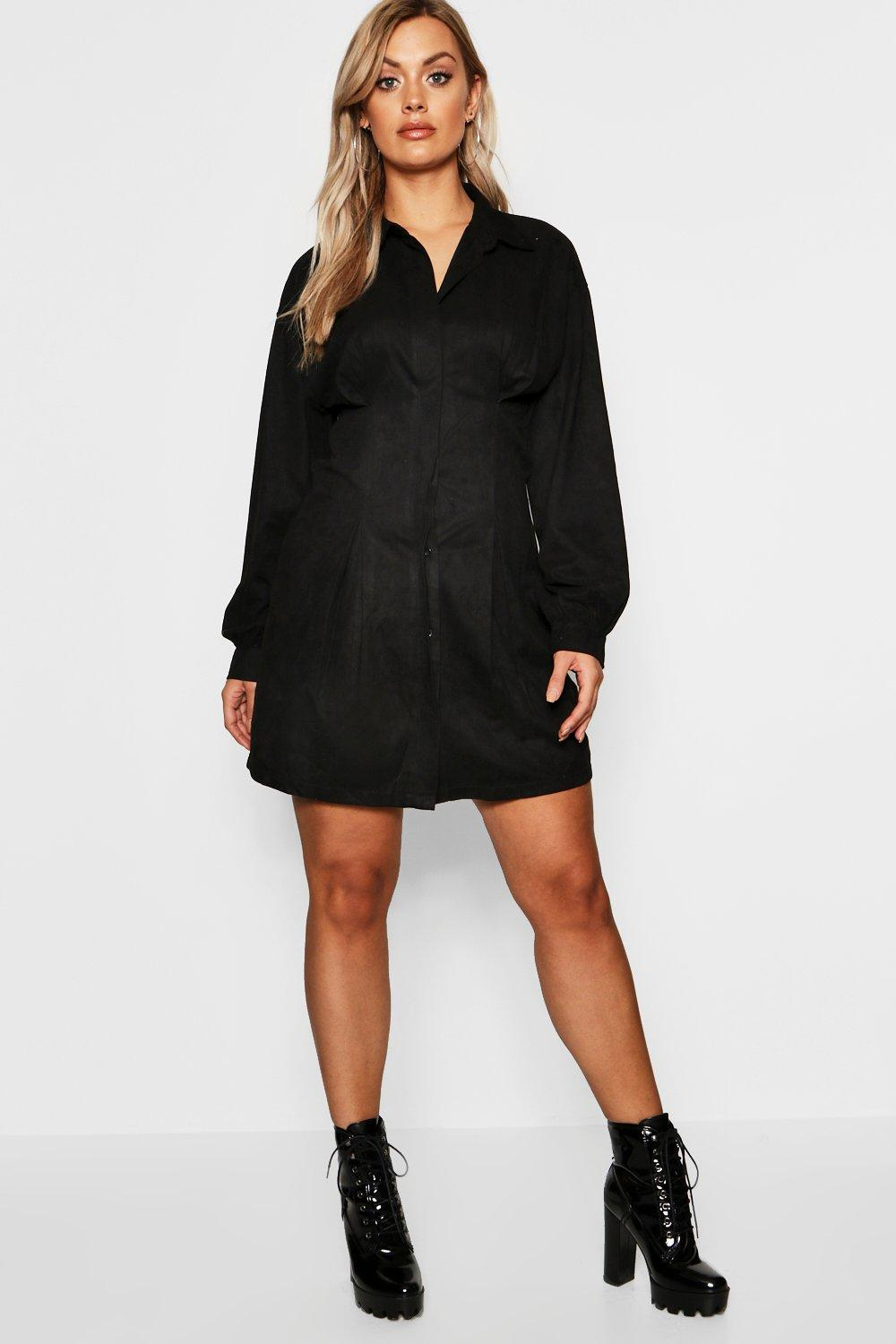 Plus Suede Shirt Dress