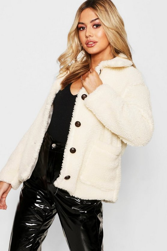 Womens Cream Petite Button Through Teddy Coat
