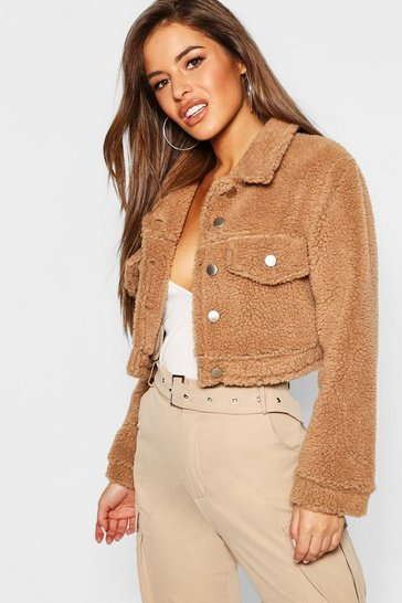 Womens Camel Petite Teddy Faux Fur Trucker Jacket