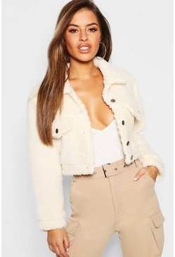 Womens Cream Petite Teddy Faux Fur Trucker Jacket