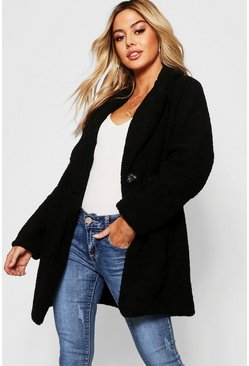 Womens Black Petite Button Through Teddy Coat