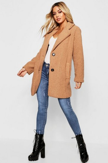 Camel Petite Button Through Teddy Coat