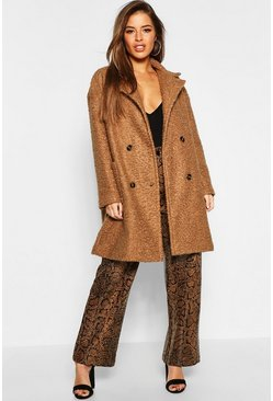 Womens Camel Petite Double Breasted Teddy Coat