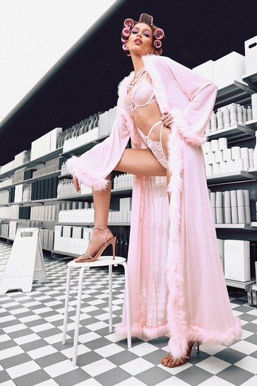 Womens Pink Plus Gemma Collins Kimono Robe With Fluffy Trim