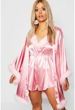 Gemma Collins Short Kimono Robe With Fluffy Sleeve, Pink