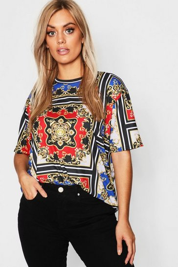 Womens Black Plus Chain Print Oversized T-Shirt