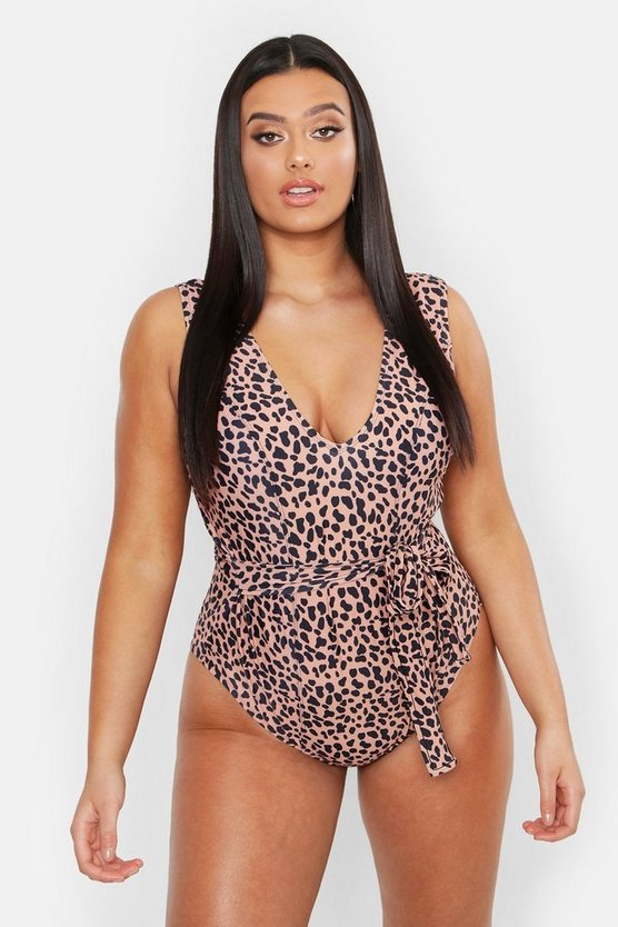 Womens Tan Plus Animal Tie Waist Plunge Front Swimsuit