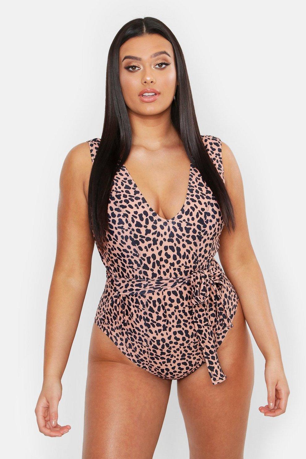9525ccc4e401 Plus Animal Tie Waist Plunge Front Swimsuit   Boohoo