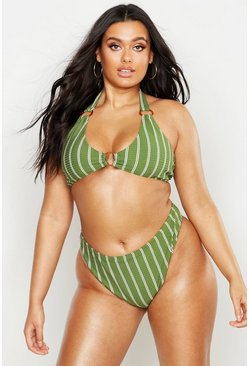 Womens Khaki Plus Pinstripe Ring Detail Triangle Bikini