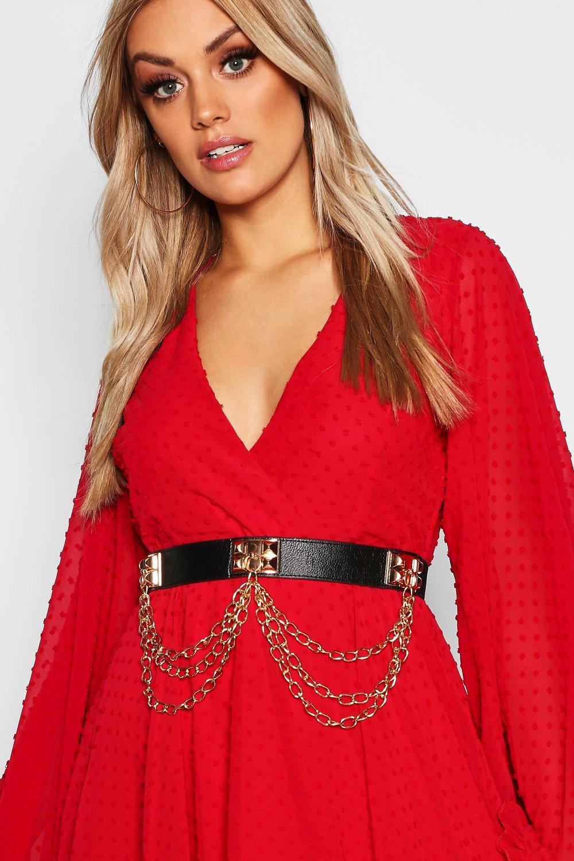 Plus Black Waist With Gold Chain Detail Belt