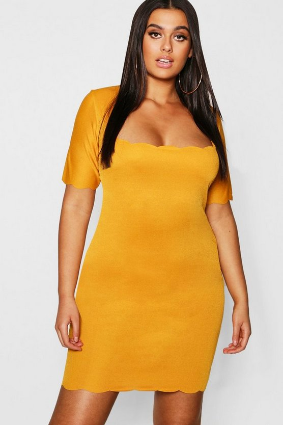 Plus Scallop Edge Square Neck Bodycon Dress, Mustard, Donna