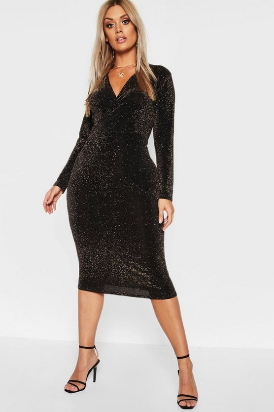 Womens Black Plus Glitter Wrap Over Midi Dress