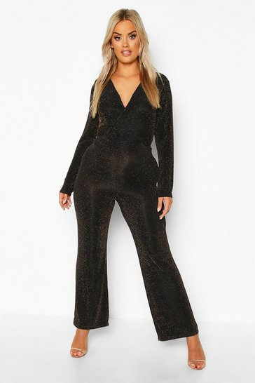 Womens Black Plus Glitter Wrap Over Jumpsuit