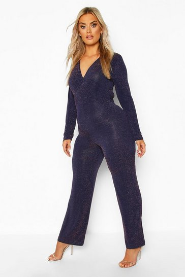 Womens Navy Plus Glitter Wrap Over Jumpsuit