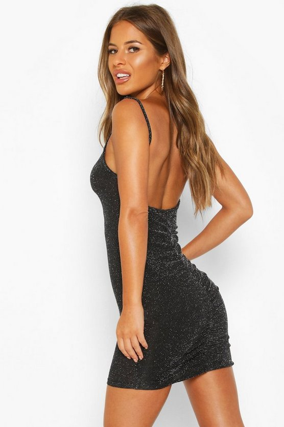 Petite Glitter Ruched Back Mini Dress