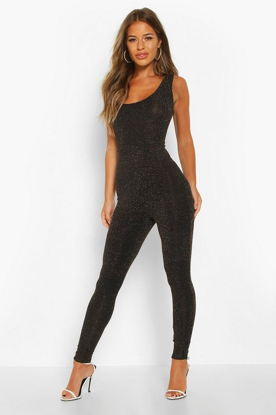 Womens Petite Glitter Scoop Back Jumpsuit