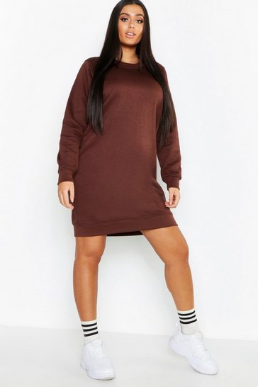 Womens Chocolate Plus Basic Sweat Dress