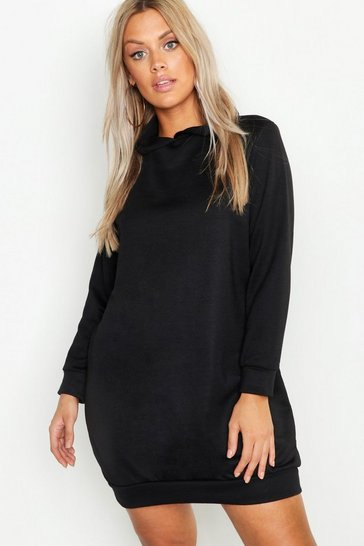 Womens Black Plus Hooded Oversized Sweat Dress