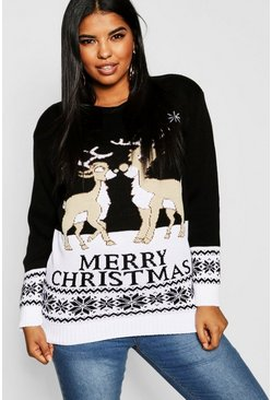 Plus Reindeers Christmas Jumper, Black, Donna