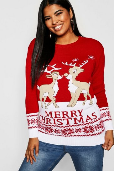 Womens Red Plus Reindeers Christmas Jumper