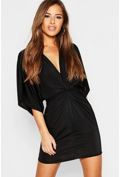 Black Petite Disco Slinky Twist Front Mini Dress